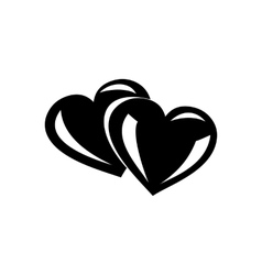 Two hearts simple icon vector