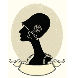 Vintage woman portrait black silhouette on white vector image vector image