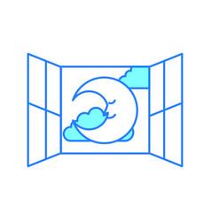 windows bedroom with cute moon vector image vector image