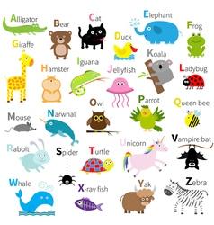Zoo animal alphabet cute cartoon character set vector