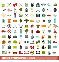 100 playground icons set flat style vector