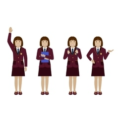School girl in uniform flat vector