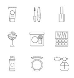 Cosmetic products icons set outline style vector