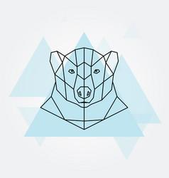 polar bear head geometric lines silhouette vector image