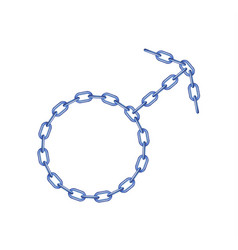 Blue chain in shape of male symbol vector