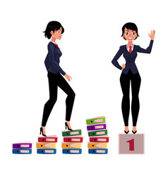 young businesswoman climbing career ladder and vector image