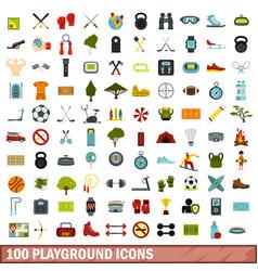 100 playground icons set flat style vector image
