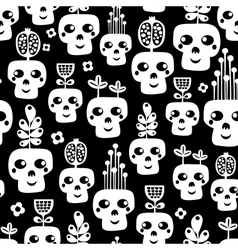 Funny skull seamless pattern with flowers vector