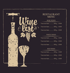 Wine list menu with bottle glass and grape bunch vector