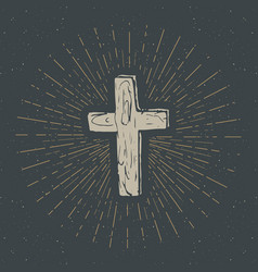 vintage label hand drawn christian cross vector image