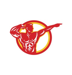 Bodybuilder flexing muscles retro vector