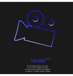 Video-camera flat modern web button and space for vector