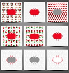 Set of flower paper card vector