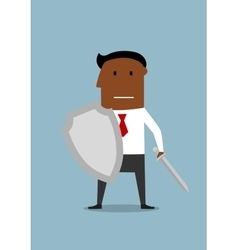 Businessman with shield protecting a business vector