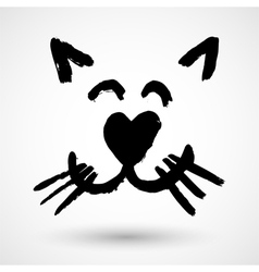 Sweet kitty face icon vector