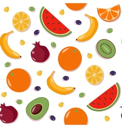 Fruits seamless pattern with watermelon orange vector