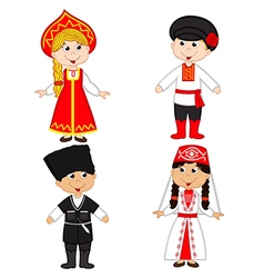 Set of isolated children of russia and georgia vector