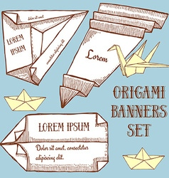 Origami banner template vector