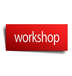 Workshop red square isolated paper sign on white vector