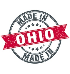 Made in ohio red round vintage stamp vector