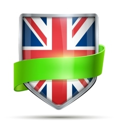 Shield with flag great briatain and ribbon vector