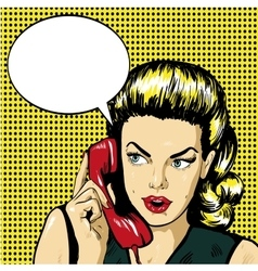 Woman talking by phone with speech bubble vector image