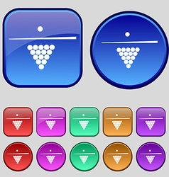 Billiard pool game equipment icon sign a set of vector
