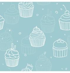 Blue cupckes pattern vector image vector image