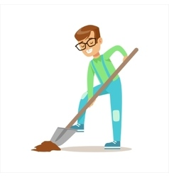 Boy digging with shovel helping in eco-friendly vector