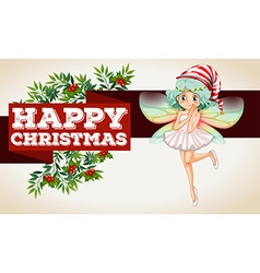 Christmas theme with fairy flying vector