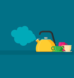 flat kettle with mugs vector image