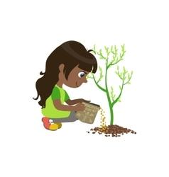 Girl applying the fertiliser vector