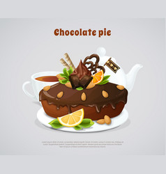 Glazed chocolate pie vector