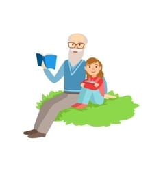 Grandfather and grandson reading book part of vector