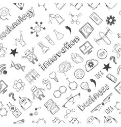 Hand drawn technology innovations seamless pattern vector