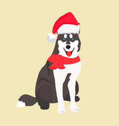 holiday husky perfect for the year of the dog vector image