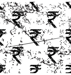 Indian rupee pattern grunge monochrome vector