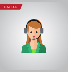 Isolated hotline flat icon secretary vector