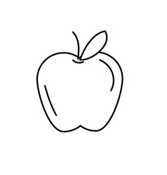 Line delicious and healthy apple fruit vector