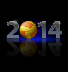 New year 2014 metal numerals with volleyball vector