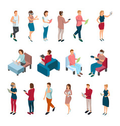People with gadgets collection vector
