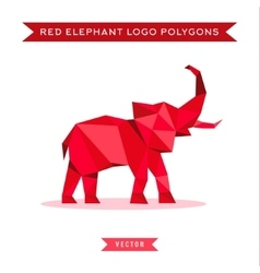 Red elephant logo with reflux and low poly vector