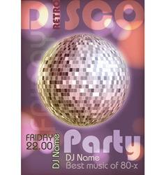 Retro disco poster Disco background vector image vector image