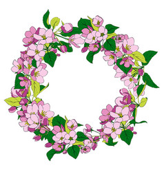 round frame with apple blossoms vector image vector image