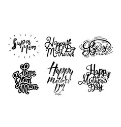 set of inscription happy mother s day love you vector image vector image