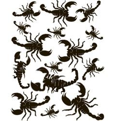 Set scorpions silhouette vector