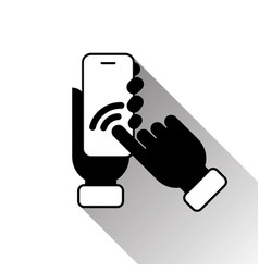 silhouette black hand touching smart phone screen vector image vector image