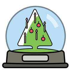 Snow globe with christams tree vector