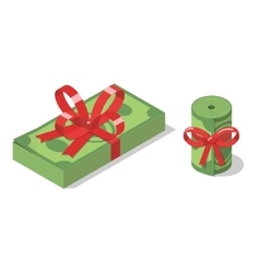 Stack and roll of banknotes tied with ribbon bow vector