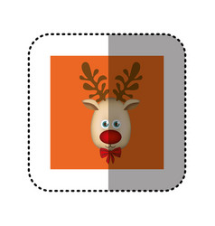 Sticker orange square frame with christmas vector